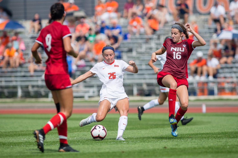 Illinois midfielder Katie Murray passes the ball during the game against Northern Illinois at the Illinois Soccer Stadium on Aug. 26. The Illini won 8-0.