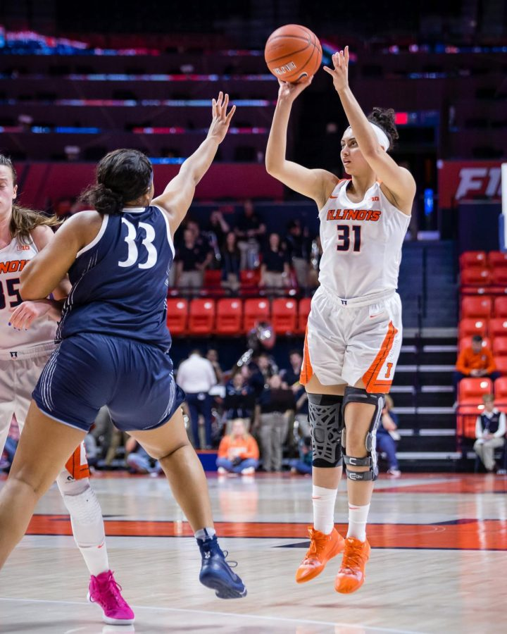 Illinois+forward+Sarah+Shewan+shoots+a+three-pointer+during+the+game+against+Penn+State+at+the+State+Farm+Center+on+Feb.+24.+The+Illini+lost+76-65.