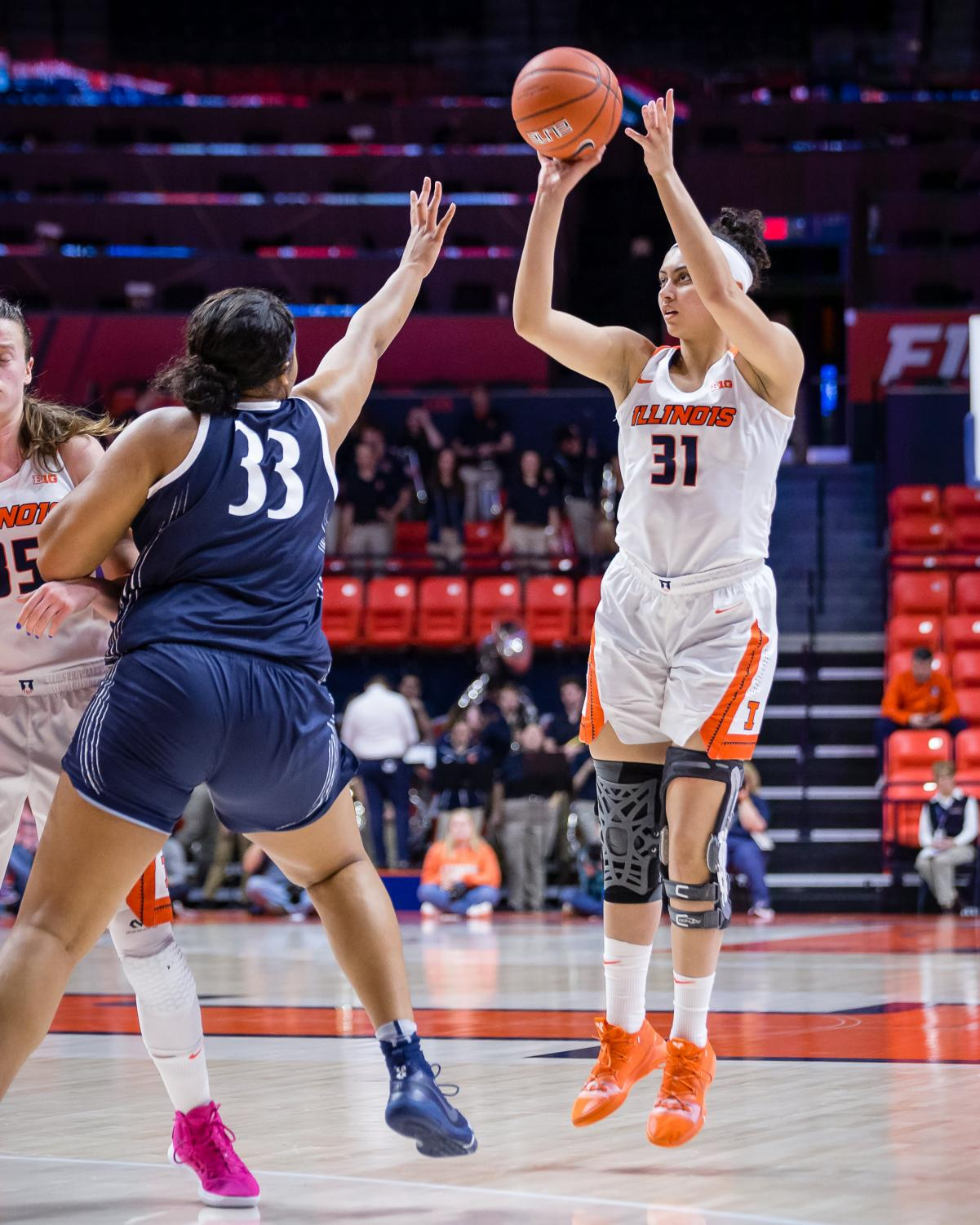 Illinois forward Sarah Shewan shoots a three-pointer during the game against Penn State at the State Farm Center on Feb. 24. The Illini lost 76-65.