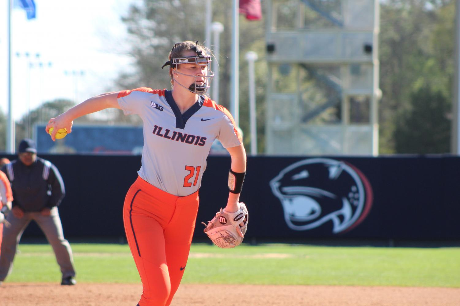 Freshman pitcher Sydney Sickels winds up for a pitch against Nichollas States at the Mardi Gras Classic in Mobile, Alabama. The Illini went on to win the game 5-3 as Sickels continues a strong start to her first-year campaign.