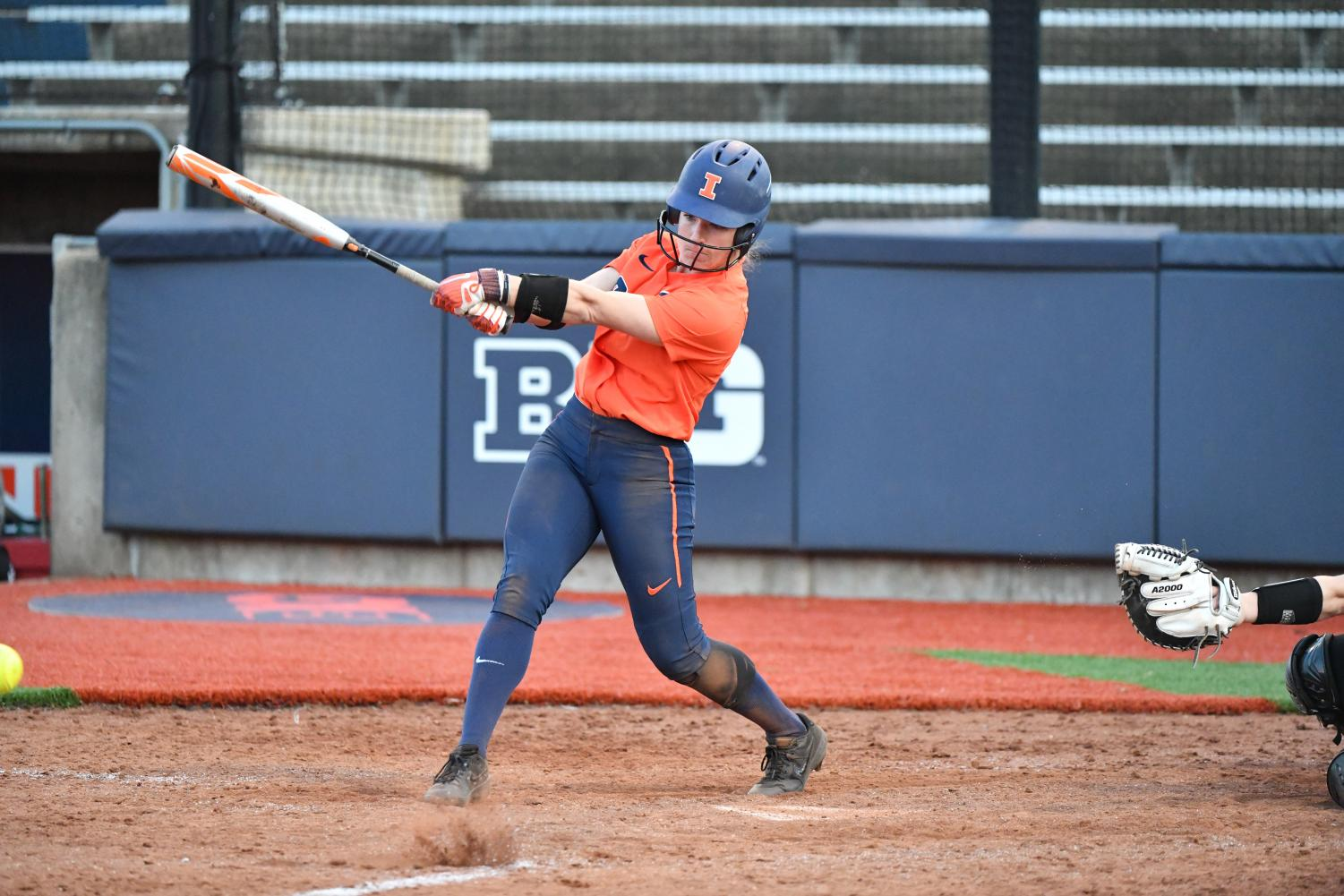 Senior Annie Fleming swings at a pitch during Illinois' three-game home series against Wisconsin last weekend at Eichelberger Field. The Illini are on a three-game win streak after beating Eastern Illinois University at home Tuesday night, 8-7.