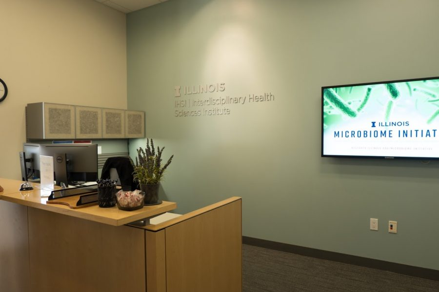 The front desk of the Interdisciplinary Health Sciences Institute on Wednesday.