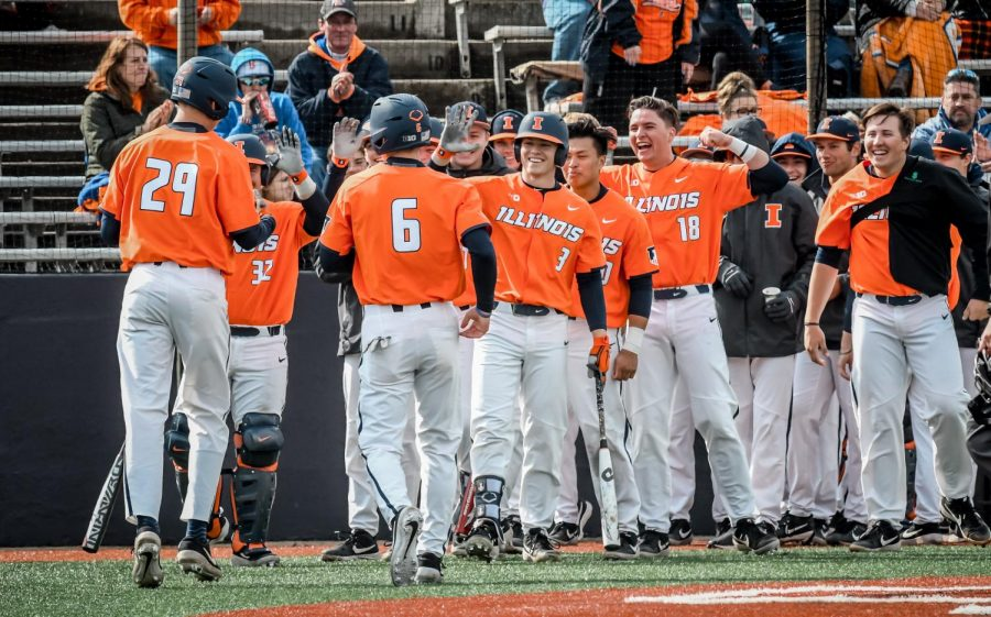 The+Illini+celebrate+their+victory+over+Illinois+State+over+the+weekend.+They+won+the+series+3-0+over+Illinois+State.