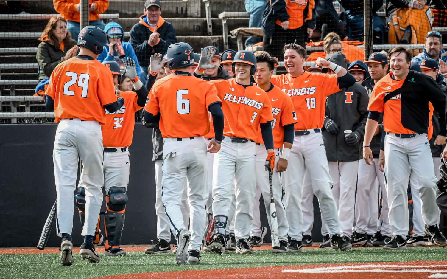 The Illini celebrate their victory over Illinois State over the weekend. They won the series 3-0 over Illinois State.