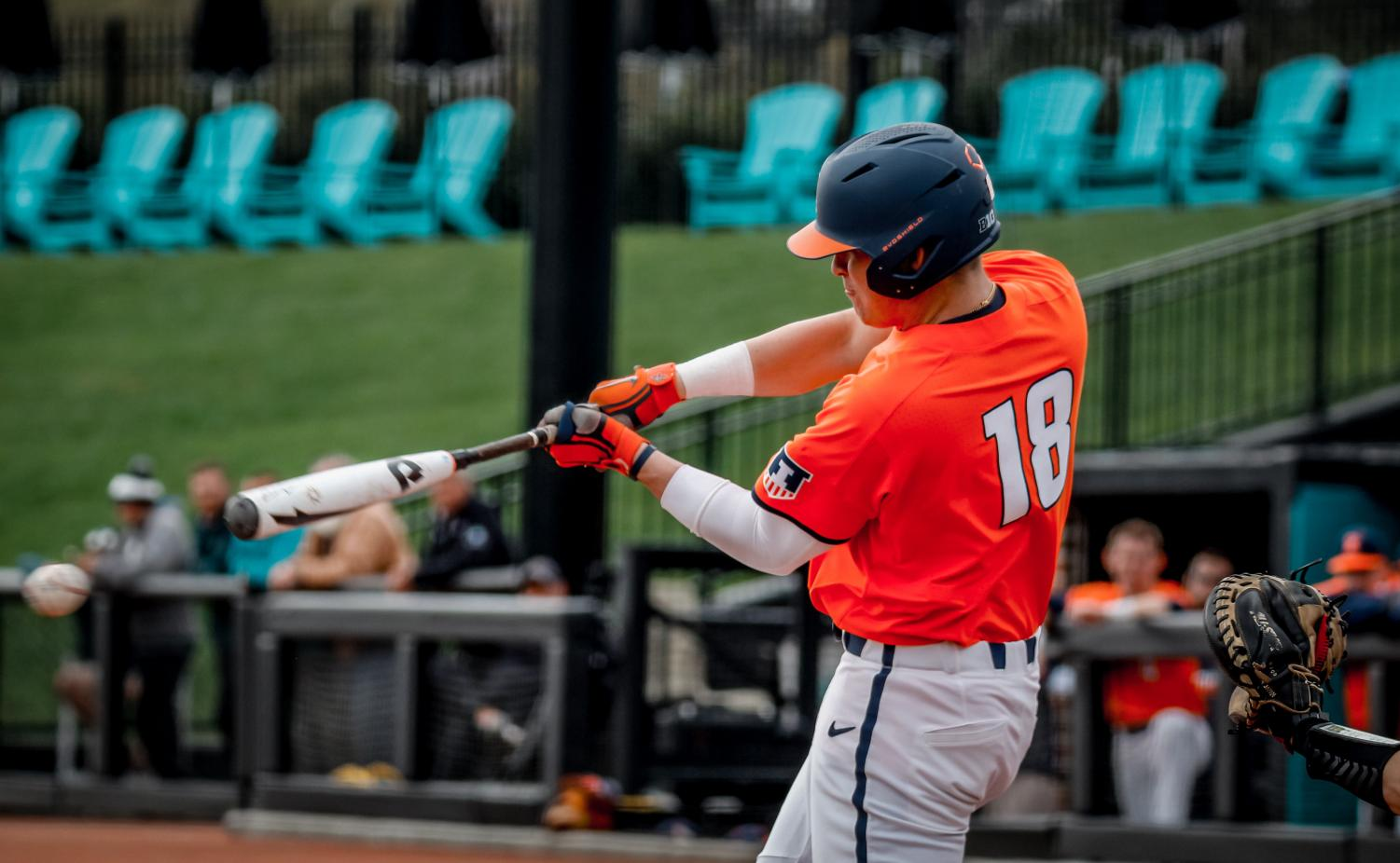 Kellen Sarver swings at a baseball in Illinois' baseball's tournament in Conway, SC over the weekend.