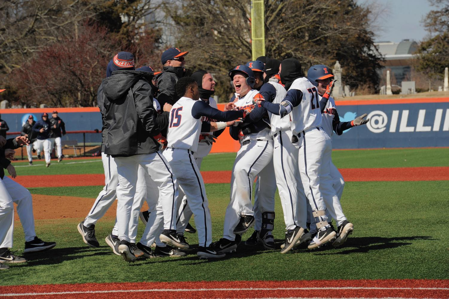 The Illini celebrate their 3-0 victory over Southern Illinois at Illinois Field on Sunday. The team's current 13-3 record is the best 16-game season start since 1989.