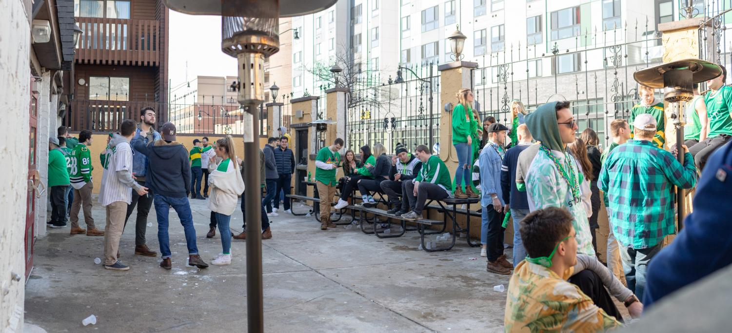 Participants+celebrate+Unofficial+in+the+beer+garden+of+the+Red+Lion%2C+211+E.+Green+St.+in+Champaign.+during+Unofficial+on+Friday.