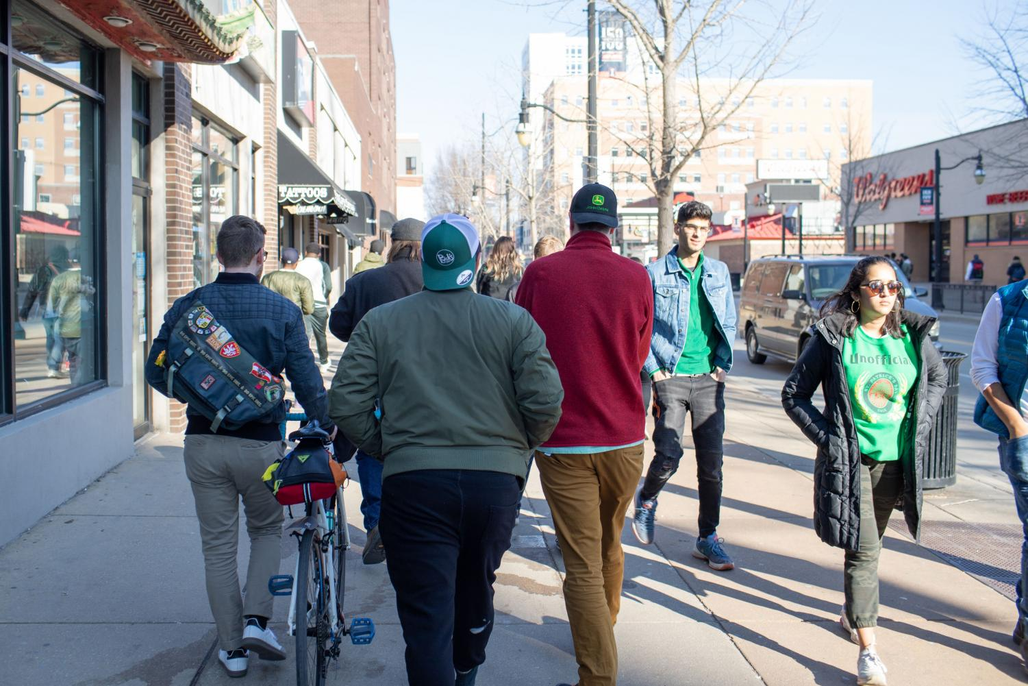 Celebrators+walk+along+Green+Street+during+Unofficial+on+Friday.