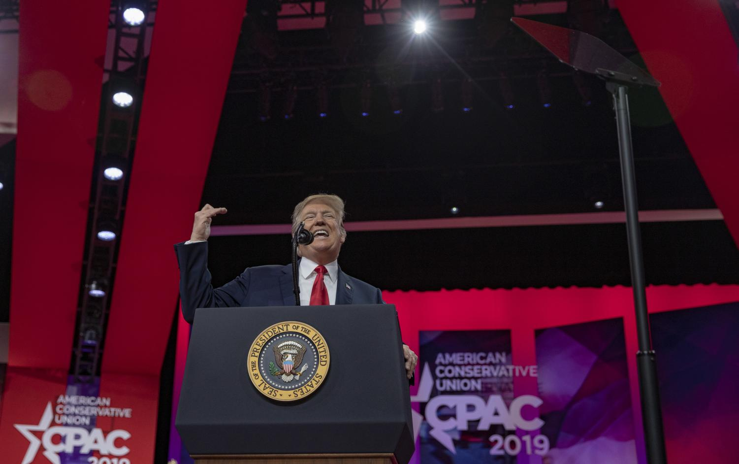 U.S. President Donald Trump speaks during CPAC 2019 on March 02, 2019 in National Harbor, Maryland. The American Conservative Union hosts the annual Conservative Political Action Conference to discuss conservative agenda. (Tasos Katopodis/Getty Images/TNS)