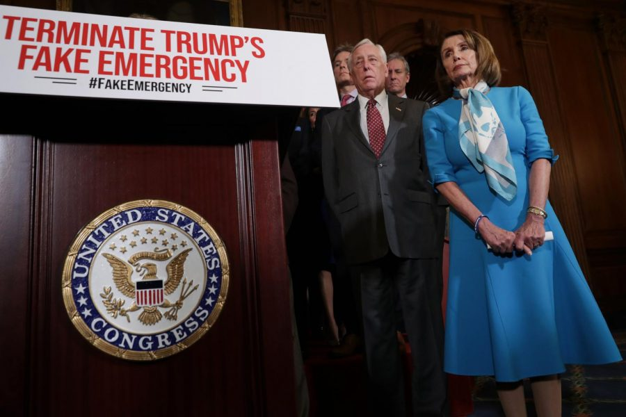 Speaker+of+the+House+Nancy+Pelosi+%28D-CA%29+%28R%29+is+joined+by+House+Majority+Leader+Steny+Hoyer+%28D-MD%29+and+other+House+Democrats+for+a+news+conference+on+the+privileged+resolution+to+terminate+President+Donald+Trump%27s+emergency+declaration+Feb.+25%2C+in+Washington%2C+D.C.+The+House+passed+a+resolution+to+abolish+Trump%27s+declaration+of+a+national+emergency+to+build+a+U.S.-+Mexico+border+wall.