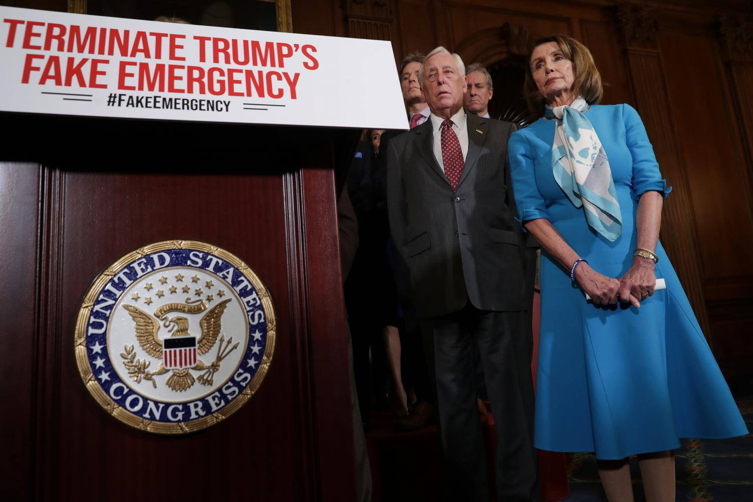 Speaker of the House Nancy Pelosi (D-CA) (R) is joined by House Majority Leader Steny Hoyer (D-MD) and other House Democrats for a news conference on the privileged resolution to terminate President Donald Trump's emergency declaration Feb. 25, in Washington, D.C. The House passed a resolution to abolish Trump's declaration of a national emergency to build a U.S.- Mexico border wall.
