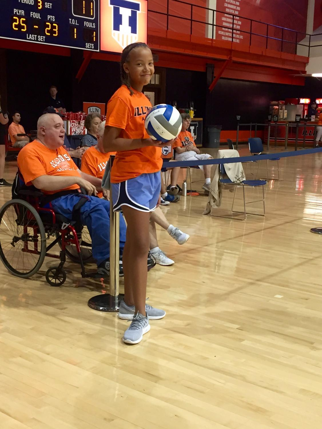 Jordan Corbly, an Illini Ball Kid for women's volleyball at Huff Hall on August 27, 2016