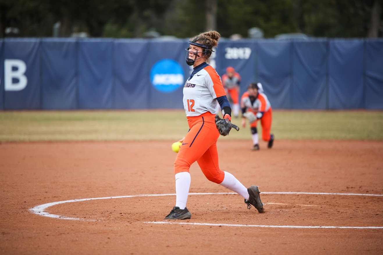 Taylor Edwards pitches at Eichelberger Field versus ISU on April 3.