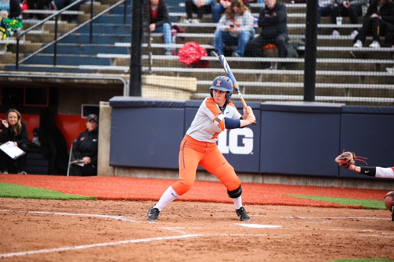 Veronica Ruelius getting ready to swing at Eichelberger Field on Apr. 3. The Illini defeated ISU, 2-1.