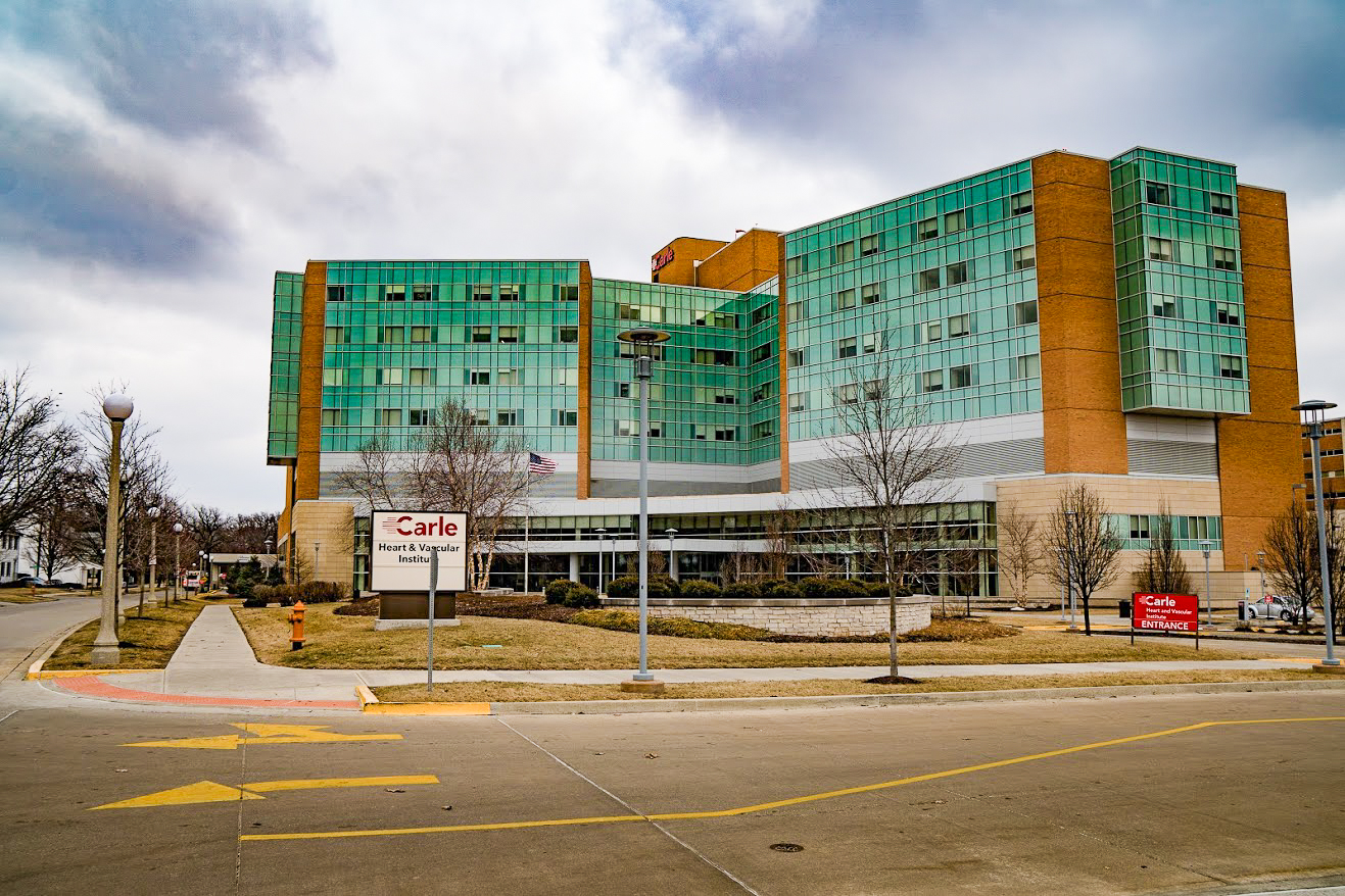 Carle Foundation Hospital is located on Park Street in Urbana. Carle is defending itself against suspicions regarding the level of charity care it provides.