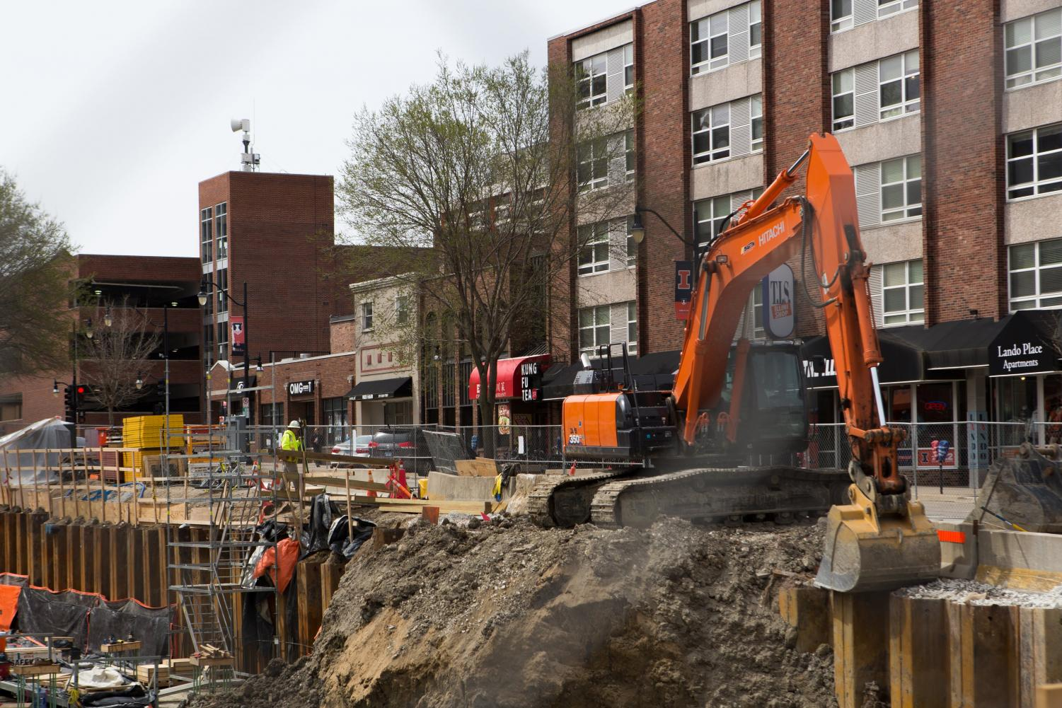 Construction workers build the foundation of the site for a future Target on the corner of Green and Sixth streets in Champaign. Roads will periodically be closed while construction continues.