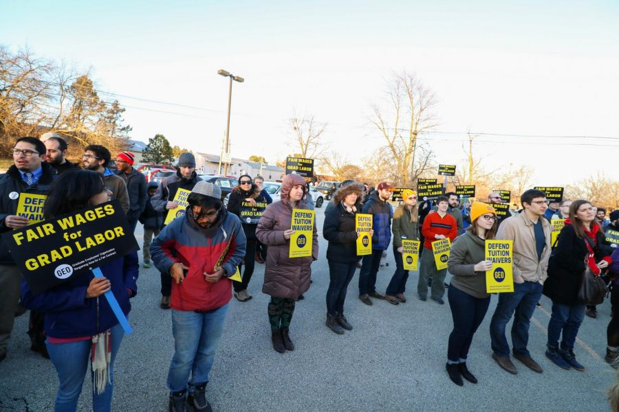 Protestors gather for a GEO rally at the Illinois Fire Institute on Sunday, Feb. 25.