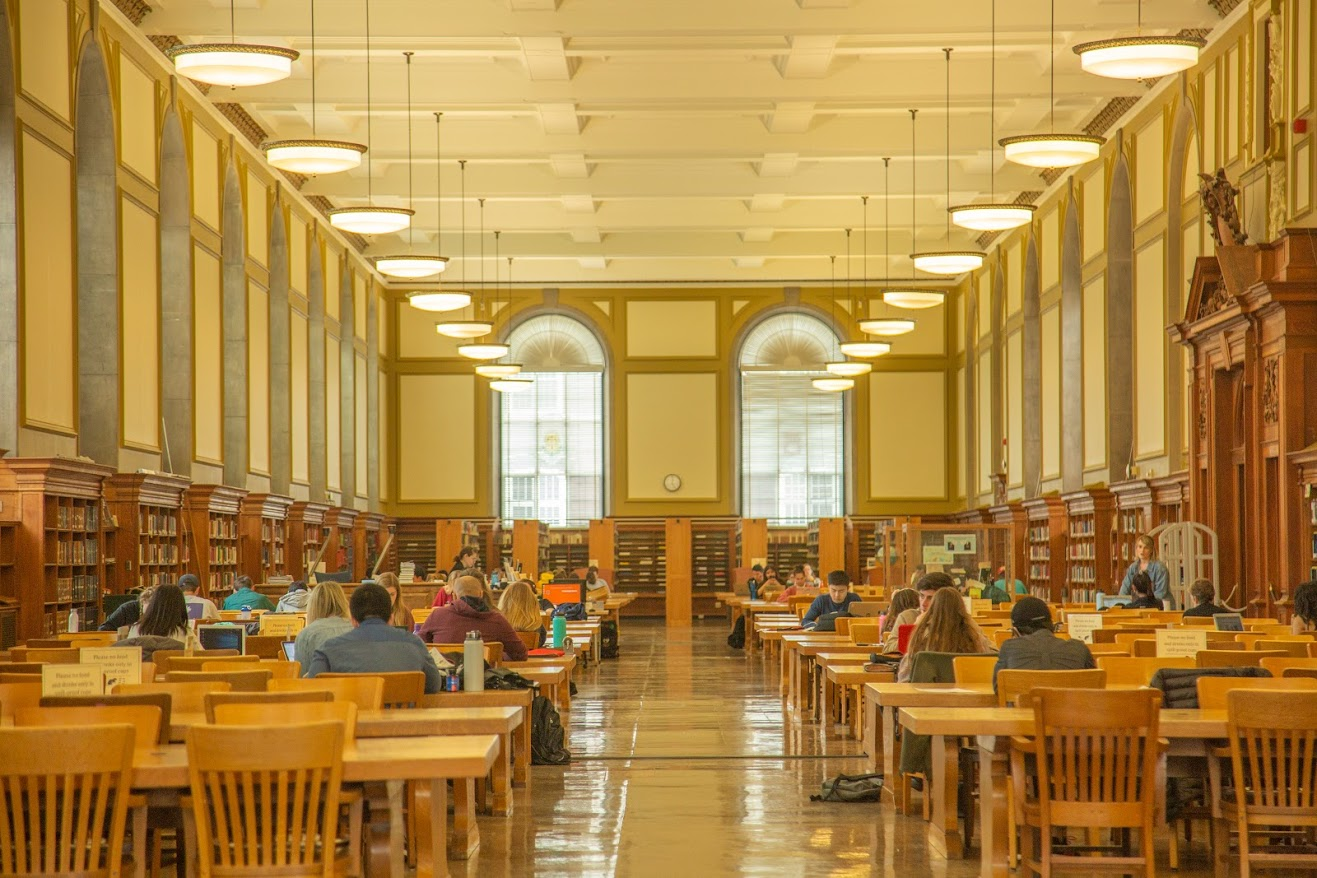 Students studying at the main stacks of the main library on Tuesday