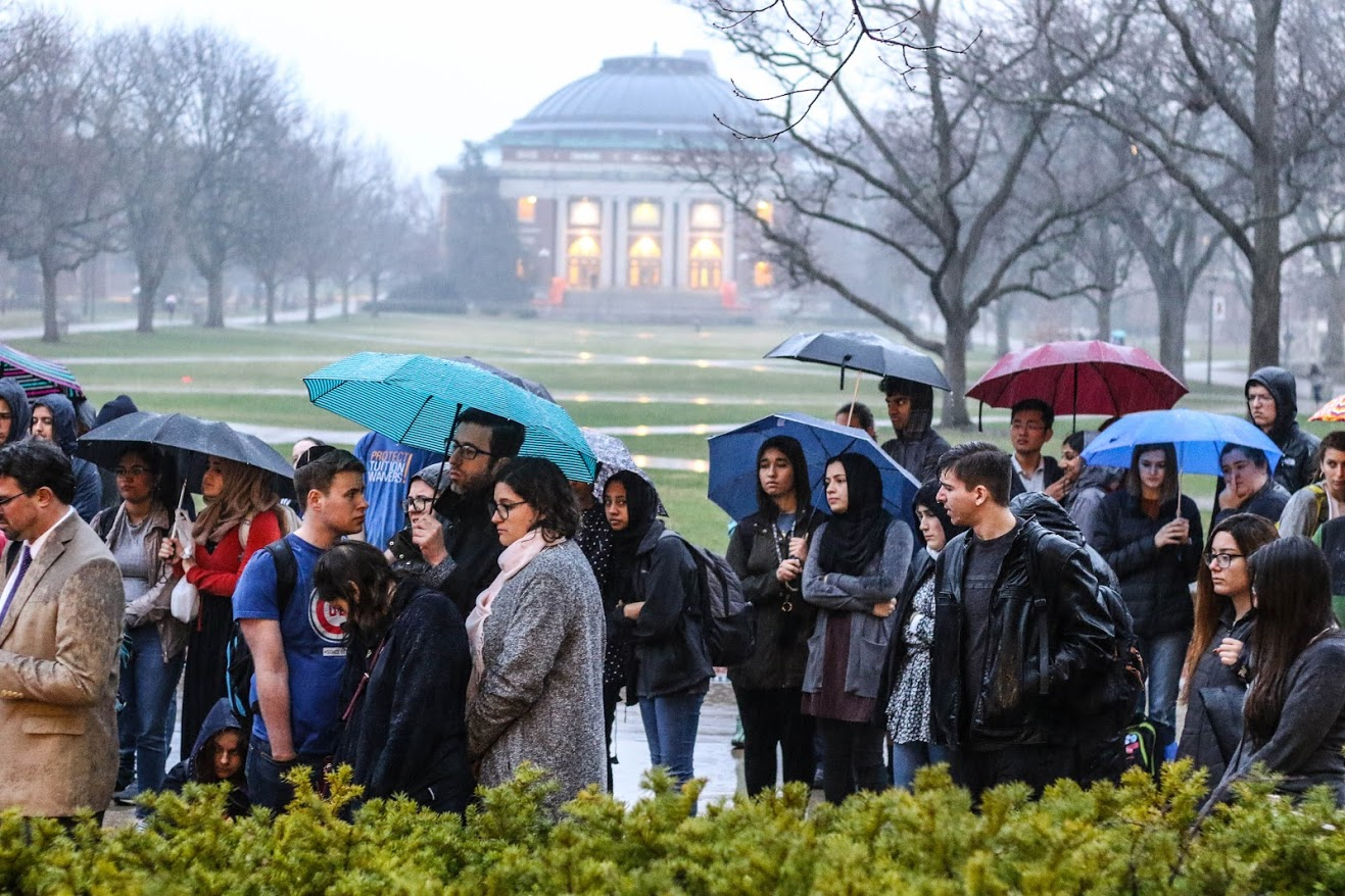 Students and other community members gather on the Main Quad for a vigil honoring the New Zealand shooting victims on Thursday,  Mar. 28.