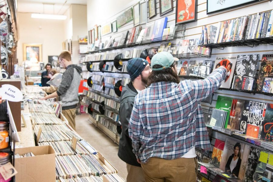Patrons+of+Exile+on+Main+shop+for+vinyl+records+for+Record+Store+Day+on+Saturday.+The+holiday+is+celebrated+on+the+third+Saturday+of+April.