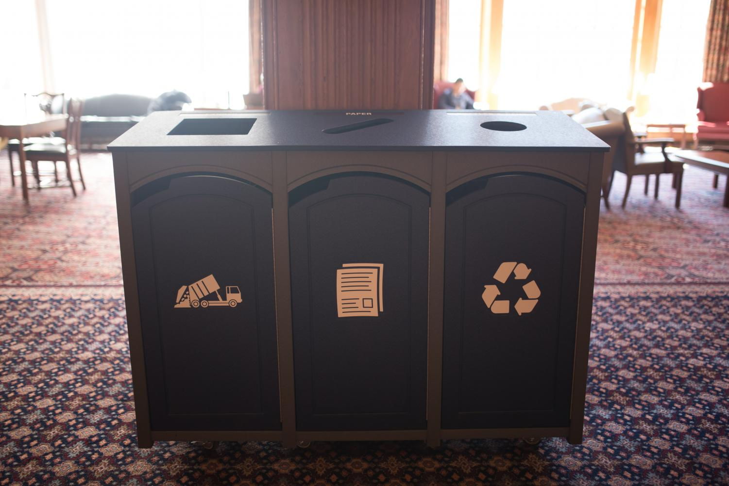 New recycling bins have been installed throughout the halls of the Illini Union. This addition reflects the University's plans to make the campus carbon-neutral by 2050.