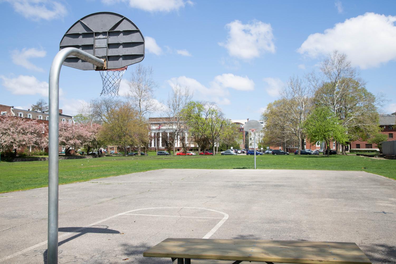 The basketball court of Washington Park on April 28.