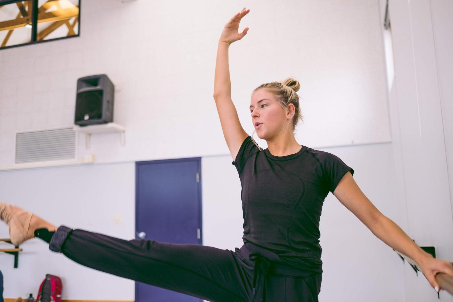 Emmaline Rapier, senior in FAA, practices dance routines at the Nevada Dance Complex on Thursday. She aspires to dance with a company as well as commercially after graduation.