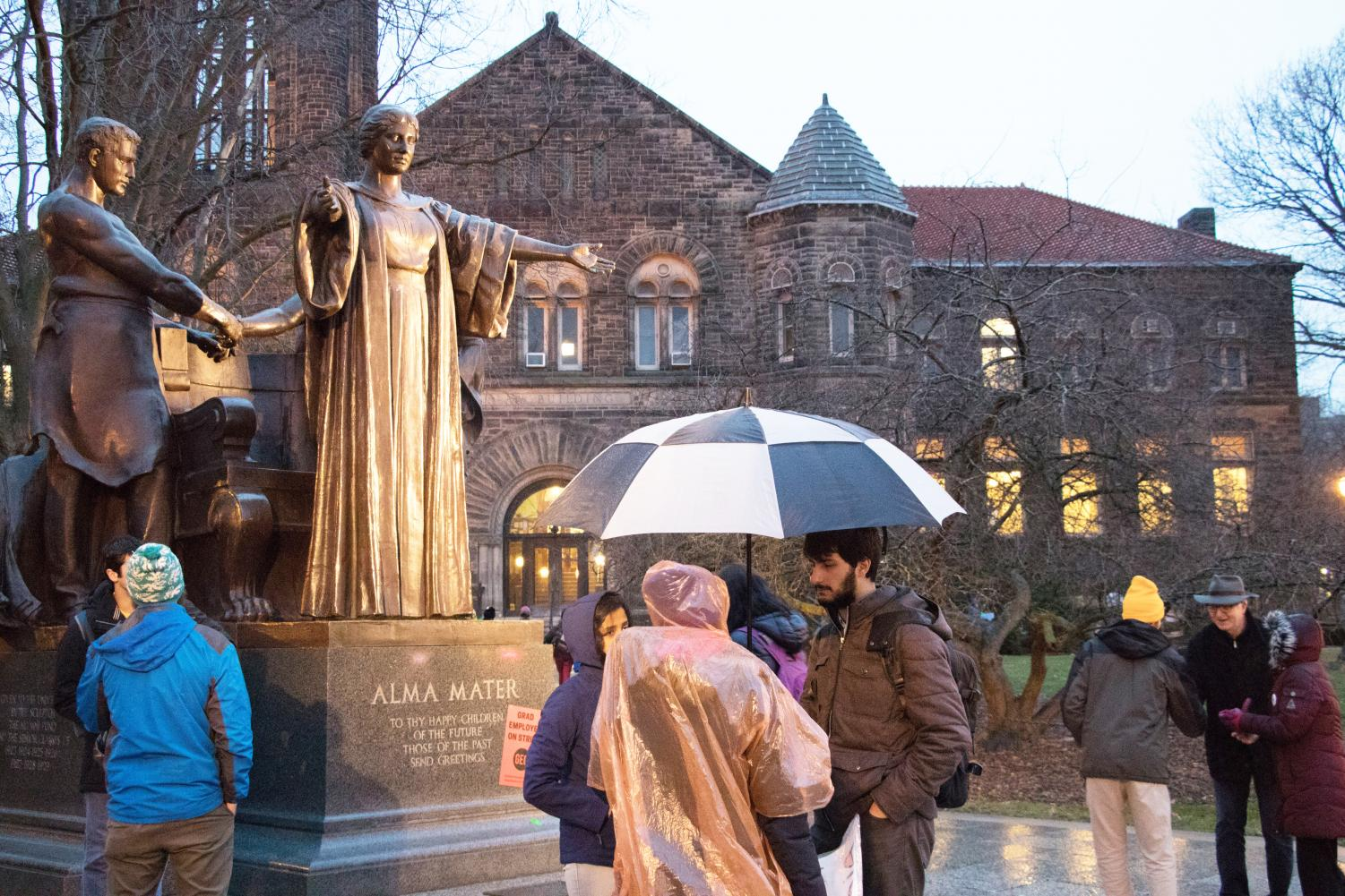 The Alma Mater statue is located on the corner of Wright and Green streets and is the site for many memorable photos.