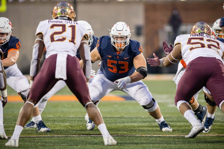 Former Illinois offensive lineman Nick Allegretti gets ready to make a block during the game against Minnesota at Memorial Stadium on Nov. 3, 2018. Allegretti is the most recent draft pick out of Illinois, though a few former players are expecting to hear their names called at the 2021 NFL Draft this weekend.