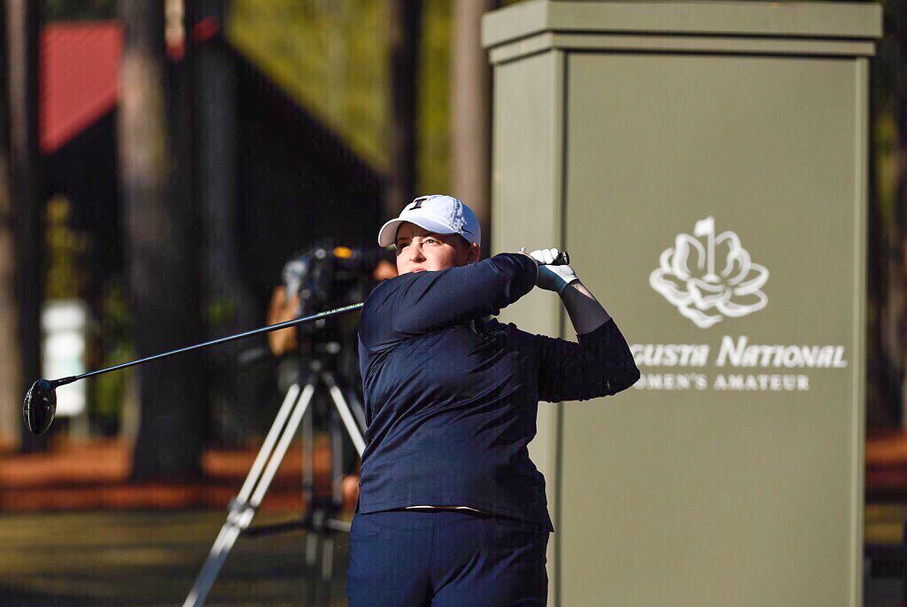 Tristyn Nowlin swings at the Augusta National Golf Course in Augusta, Georgia. She finished 9-over-par overall.