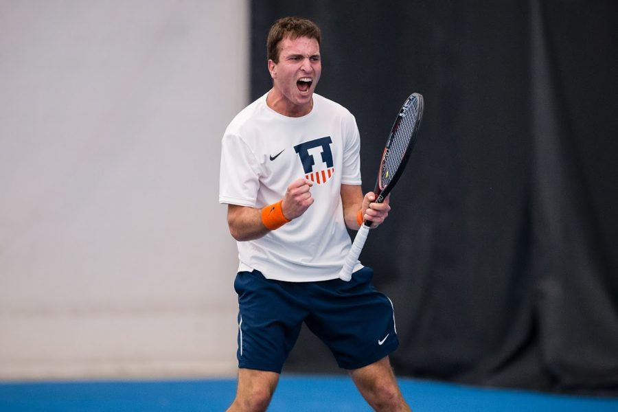 Illinois%E2%80%99+Vuk+Budic+celebrates+after+winning+his+singles+match+against+Penn+State+at+Atkins+Tennis+Center+on+April+12.+The+Illini+won+4-3.