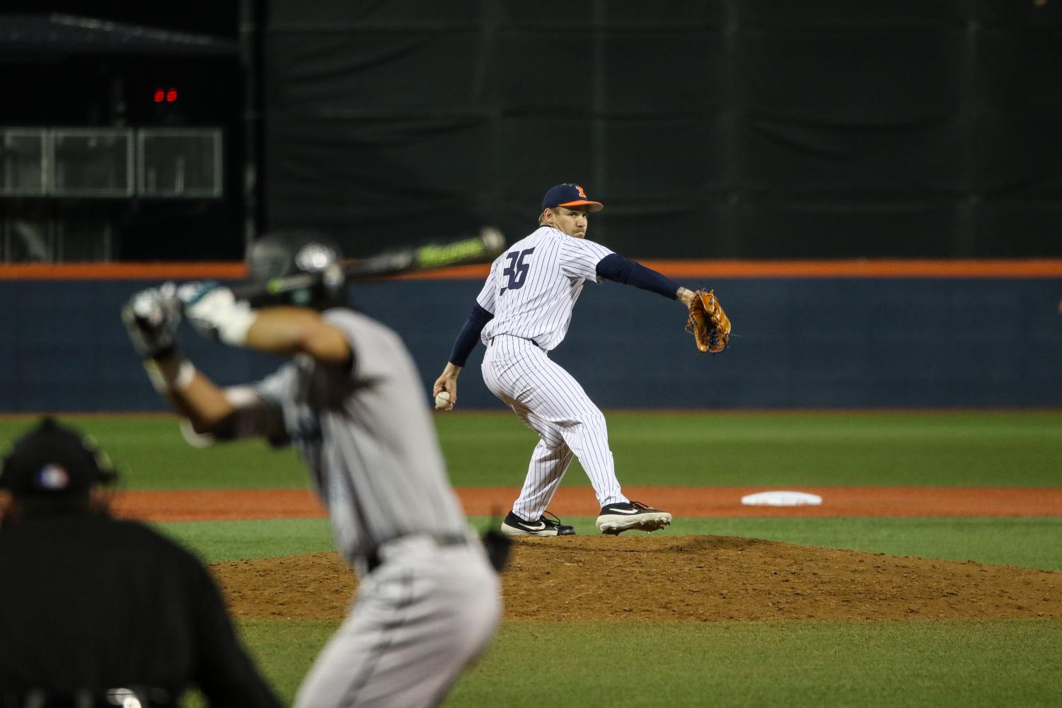 Illini pitcher Josh Harris pitches to a Chanticleer batter in the fifth inning. Harris got the win for Illinois, improving his record to 2-1 this season.