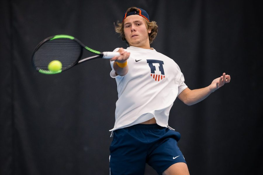 Aleks+Kovacevic+returns+the+ball+during+the+match+against+Penn+State+at+the+Atkins+Tennis+Center+on+April+12.+Kovacevic+carries+the+best+NCAA+tournament+run+since+2007.