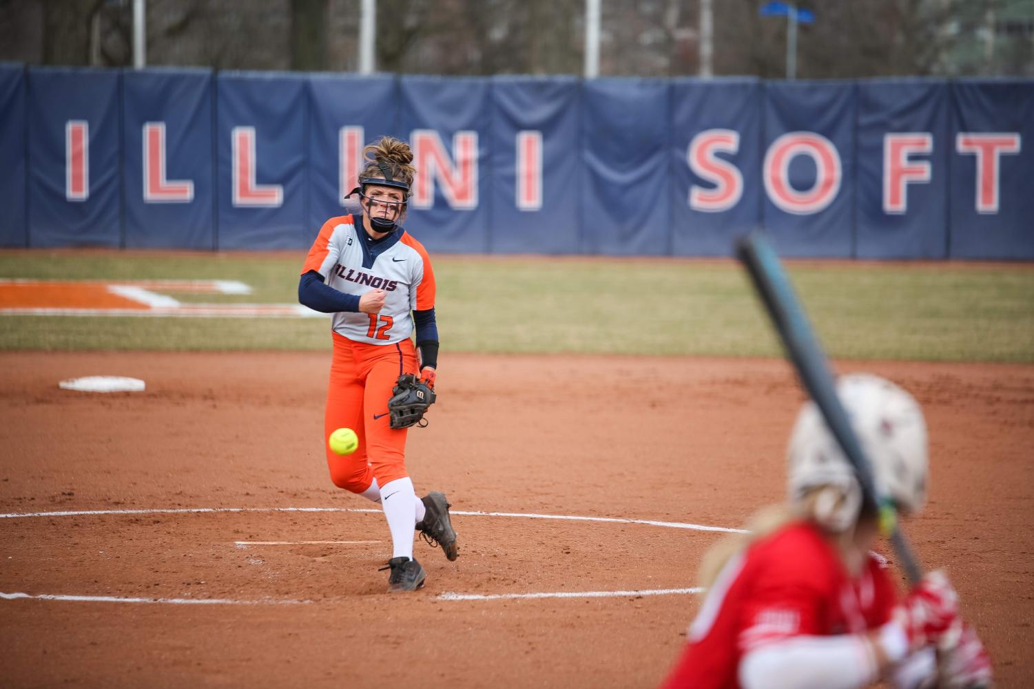 Taylor Edwards pitches at Eichelberger Field versus Illinois State on April 3. The team has learned to focus on the moment rather than worrying about prior plays.