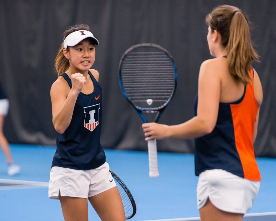 Illinois' Emilee Duong celebrates during the match against Rutgers at Atkins Tennis Center on Friday, March 29, 2019. The Illini won 6-1.