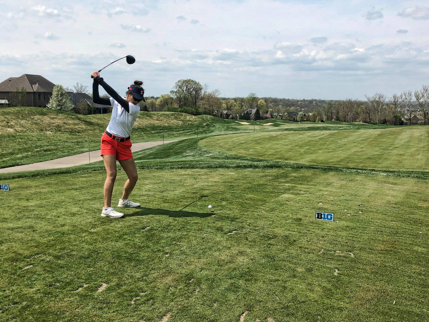 Bing Singhsumalee golfs at the Big Ten Championships at Mainesville, Ohio. The Illinois women's golf team is headed to Michigan for the NCAA women's golf regional Monday-Wednesday.