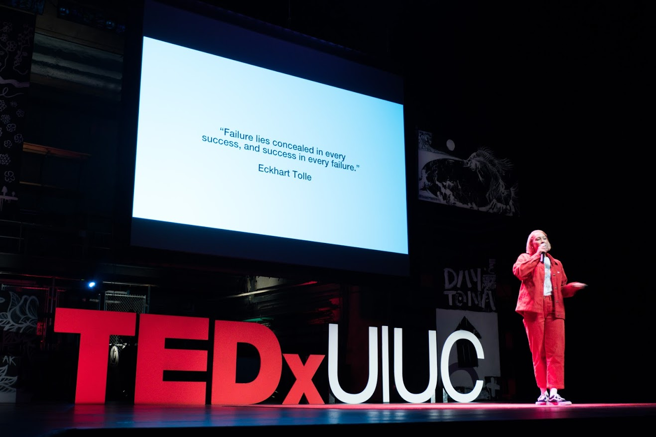 Elise Swopes speaks at the TEDxUIUC conference at Krannert Center on Sunday.