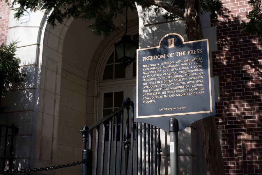 The Freedom of Speech plaque stands outside Gregory Hall on March 27. Deadspin, a sports news website created by a University alumnus, lost its entire editorial staff last week following a proposal to stick to only sports content.