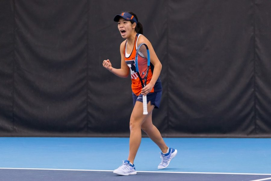 Illinois%27+Asuka+Kawai+celebrates+during+the+match+against+Notre+Dame+at+Atkins+Tennis+Center+on+Friday%2C+Feb.+8%2C+2019.+The+Illini+won+4-3.