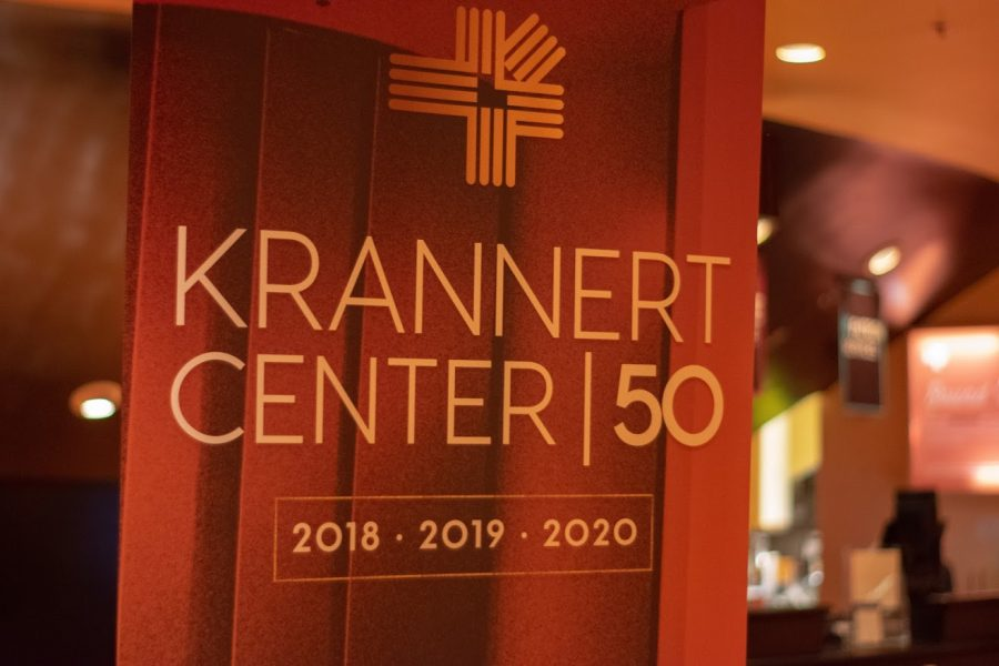 The+50th+anniversary+sign+at+Krannert+Center.+The+Krannert+Center+will+be+celebrating+its+50th+anniversary+by+hosting+events+and+shows.