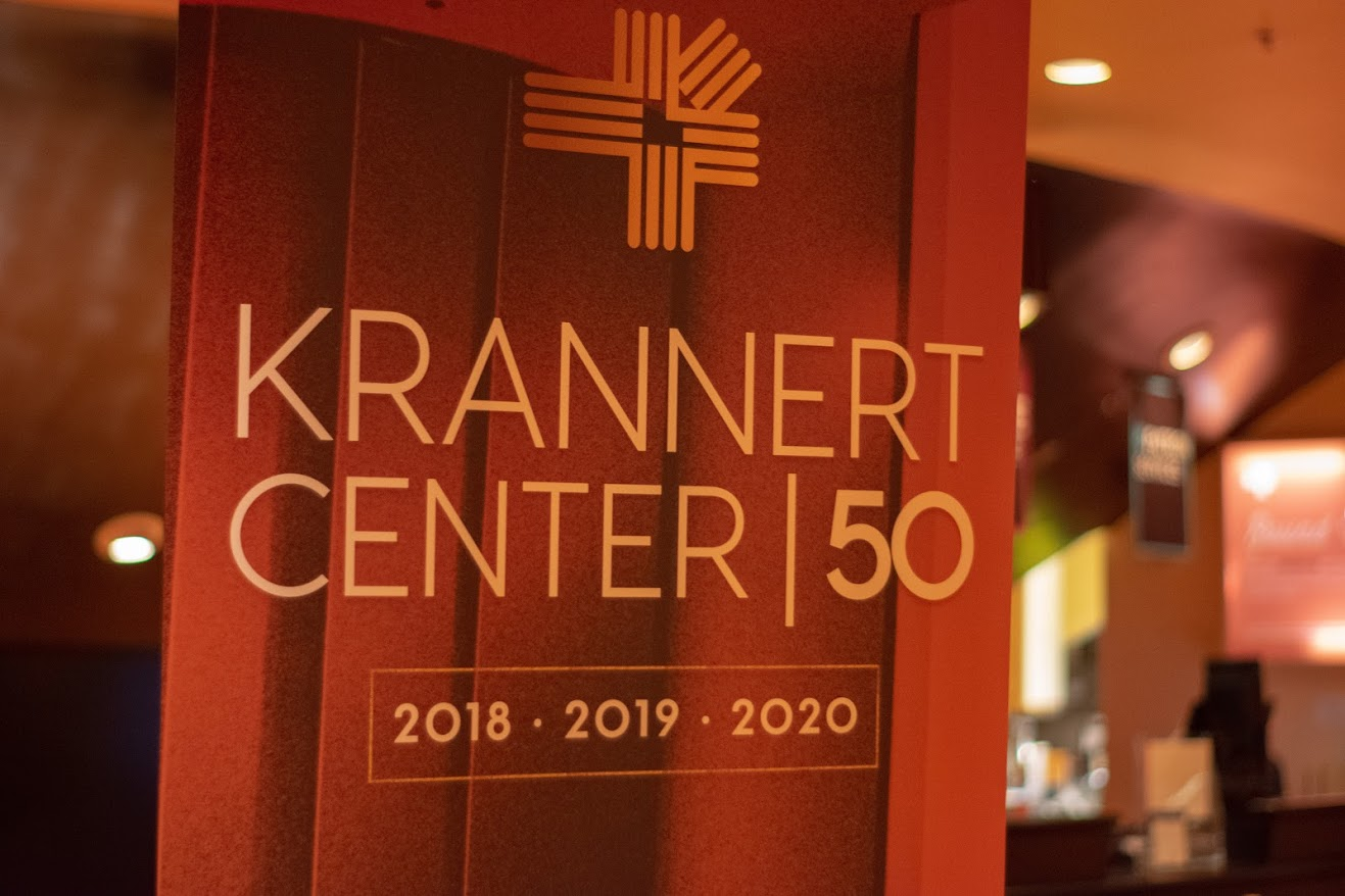 The 50th anniversary sign at Krannert Center. The Krannert Center will be celebrating its 50th anniversary by hosting events and shows.