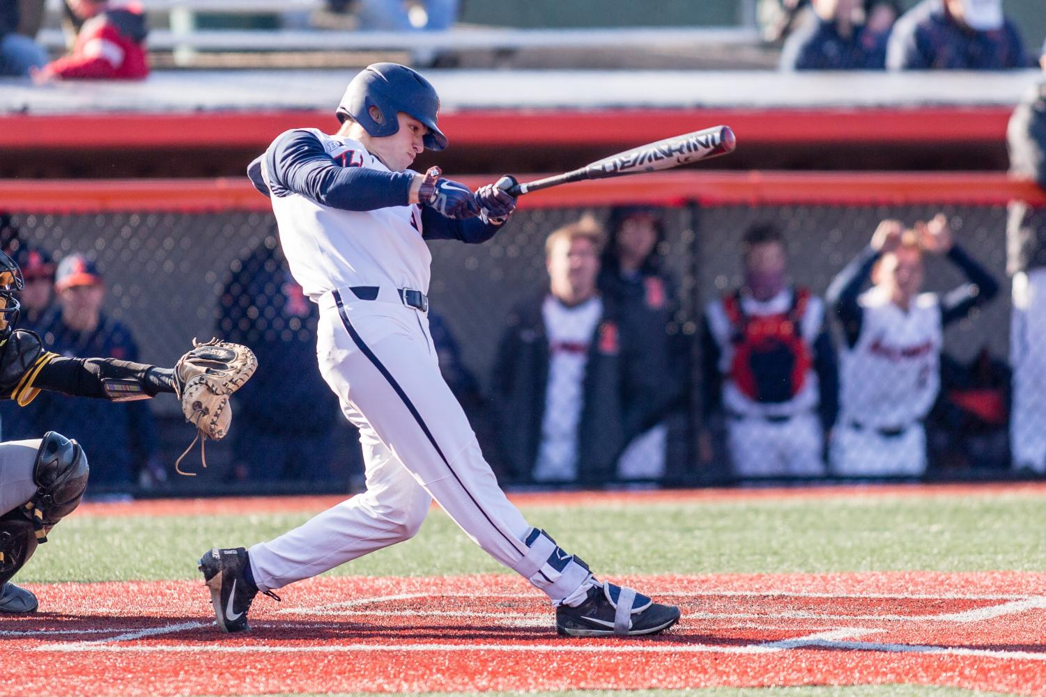 Senior outfielder Jack Yalowitz swings at a pitch during Illinois' game against Milwaukee at Illinois Field on Wednesday March 14, 2018.