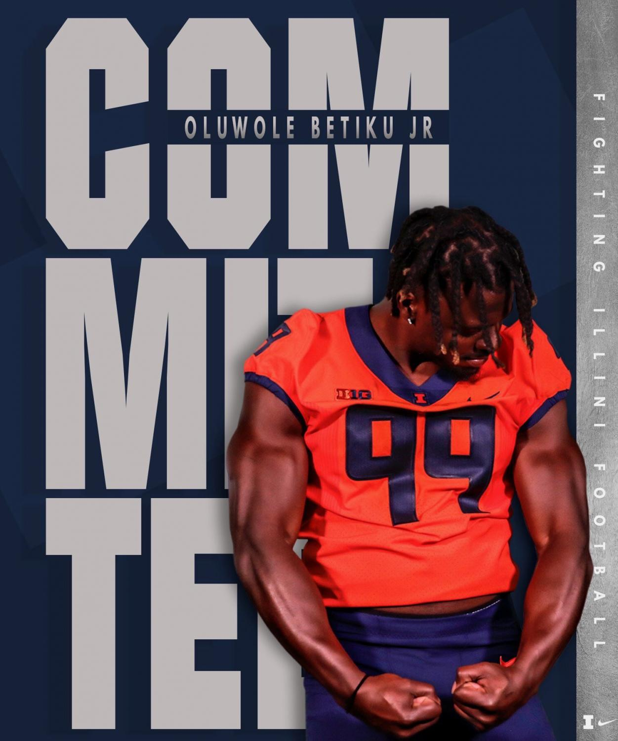 Oluwole Betiku's commitment photo posted on his twitter on Thursday.