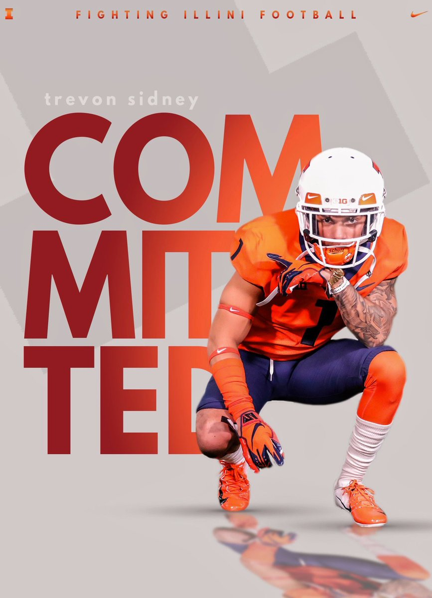 Trevon Sidney, a new commit to UIUC football, posted his recruitment photo on his twitter