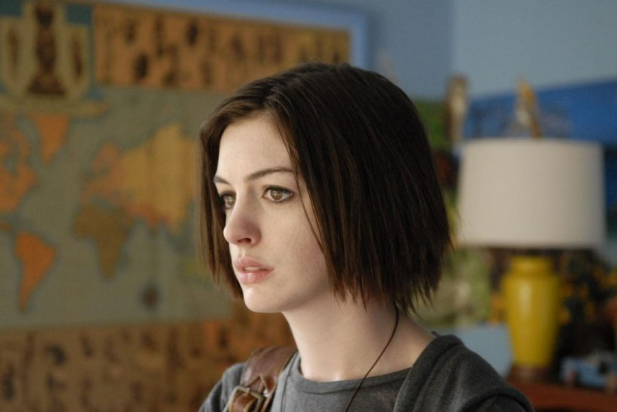 "Anne Hathaway as Kym in ""Rachel Getting Married."" The film tells the story of a young woman, recently released from rehab, who attends her sister's wedding. Roger Ebert Fellow Eunice describes the film as being documentary-like, with its raw emotions and the story's heavy subject matter demonstrating Chaz Ebert's message of empathy, especially in regards to familial relationships."