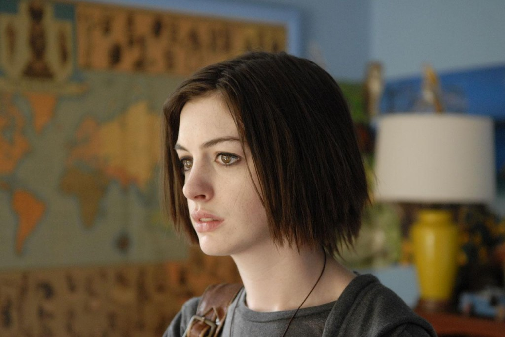 """Anne Hathaway as Kym in """"Rachel Getting Married."""" The film tells the story of a young woman, recently released from rehab, who attends her sister's wedding. Roger Ebert Fellow Eunice describes the film as being documentary-like, with its raw emotions and the story's heavy subject matter demonstrating Chaz Ebert's message of empathy, especially in regards to familial relationships."""