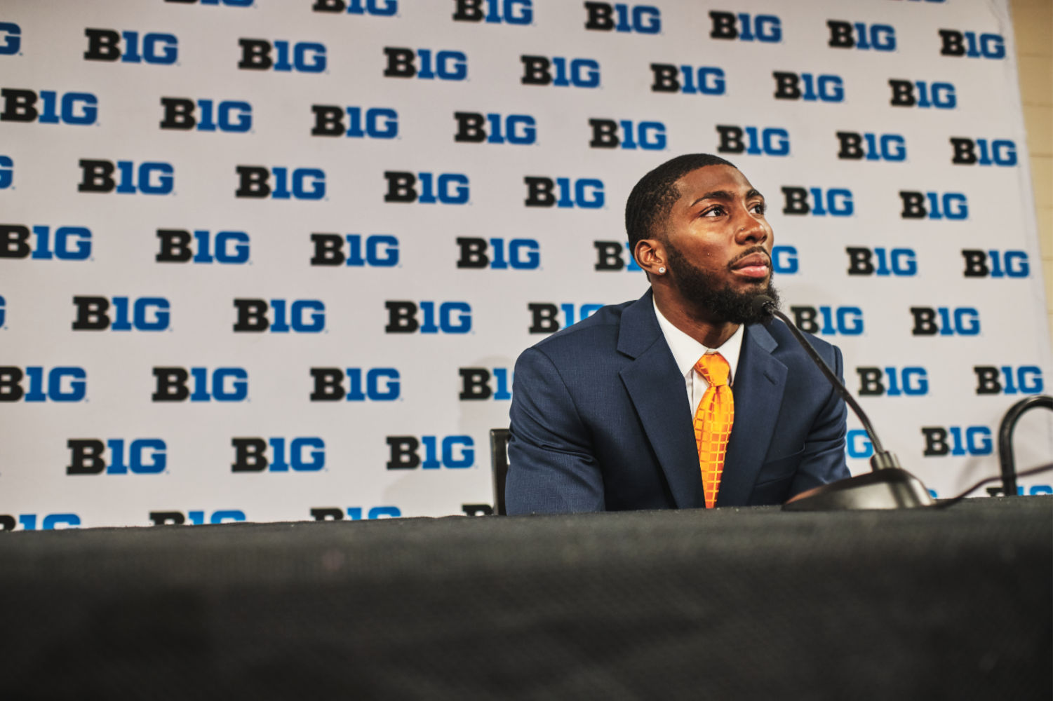 Junior Nate Hobbs answers questions at Big Ten Football Media Days in Chicago Thursday.