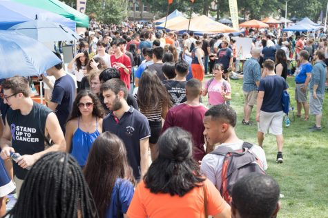 Students walk along the Main Quad during Quad Day on Aug. 26. Quad Day can be both exciting and stressful, but with these hints you can find everything.