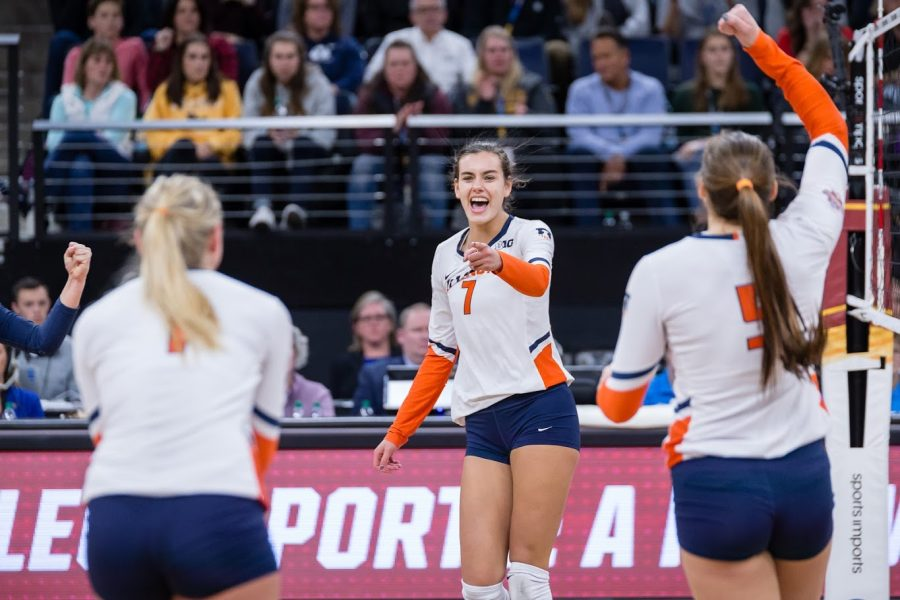 Illinois+outside+hitter+Jacqueline+Quade+%287%29+points+to+setter+Jordyn+Poulter+%281%29+after+scoring+a+kill+during+the+match+against+Nebraska+in+the+Final+Four+of+the+NCAA+tournament+at+the+Target+Center+on+Thursday%2C+Dec.+13%2C+2018.+Nebraska+defeated+Illinois+3-2.