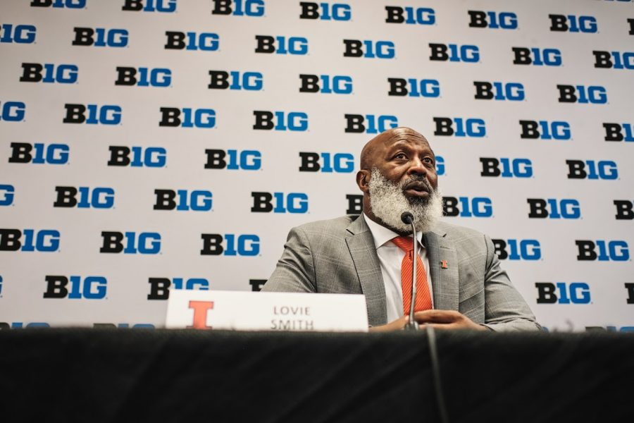 Lovie+Smith+talks+at+a+press+conference.+Smith+will+begin+his+fourth+season+with+Illinois+on+Saturday+when+Illinois+hosts+Akron+at+Memorial+Stadium.++